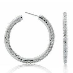 #Malakan #Jewelry - Platinum-Silver Diamond Hoop Earrings 75046D #Earrings #Hoops #Fashion