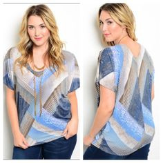 """(plus) Blue top Blue top  1x: L 28"""" B 42""""• 2x: 2x: L 28"""" B 44""""• 3x: L 28""""  B 46"""" Materials- 95% polyester/ 5% spandex. Very stretchy! Lightweight. Dolman style sleeves.  Availability- 1x•2x•3x • 2•2•2 Price is firm unless bundled. No trades⭐⭐️This is a retail item. It is brand new either with manufacturers tags, boutique tags, or in original packaging. Boutique Tops Blouses"""