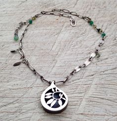 Julianne Van Buskirk Sterling silver shadow box pendant on hand-made Sterling chain