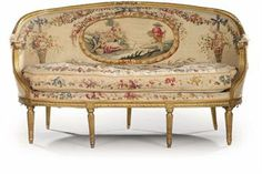 french aubusson sofa set | FRENCH GILTWOOD AND AUBUSSON TAPESTRY CANAPE EN CORBEILLE | OF LOUIS ...