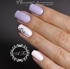 Cute fashion nails Cute nails Delicate spring nails Light purple nails Nails ideas with flowers Nails trends 2018 Painted nail designs Spring nails 2018 Pretty Nail Designs, Colorful Nail Designs, Nail Designs Spring, Accent Nail Designs, Gel Nail Art Designs, White Nail Designs, Simple Nail Designs, White Nail Polish, White Nails