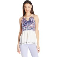 Miss Me Women's Printed Tank ($36) ❤ liked on Polyvore featuring tops, white tops, miss me, embroidered tank, white embroidered top and miss me tank tops