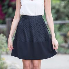 black polka dots skirt, feminine fashion, trendy online boutique