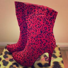Sexy Red Cheetah Velvet High Heel Calf Boots Brand New Unworn, Unused item with original box and packaging. Heel measures approx. 4 inches. Material is a velvety faux suede. Mascotte Shoes Heeled Boots