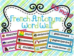 This file includes 63 French labels of antonyms/opposite words. There is a total of 125 words. There are three labels on each page. The borders on each label are colour coded to match its parts of speech. Red cards = nouns, Blue cards = verbs, Yellow cards = adverbs, Magenta cards = Adjectives