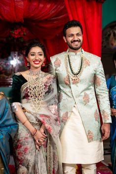 A Graceful DIY Engagement With The Bride In Two Gorgeous Outfits And Antique Jewellery! A Graceful DIY Engagement With The Bride In Two Gorgeous Outfits And Antique Jewellery! Engagement Dress For Bride, Engagement Saree, Groom Wedding Dress, Indian Engagement Outfit, Bride Groom, Indian Groom Dress, Wedding Dresses Men Indian, Mens Wedding Wear Indian, Sherwani For Men Wedding