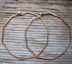 Unusual Hoop Earrings 2 inch  Copper Geometric by NadinArtGlass, $16.00