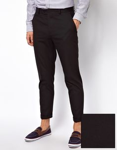 $33, Black Chinos: Asos Brand Slim Fit Smart Cropped Pants. Sold by Asos. Click for more info: https://lookastic.com/men/shop_items/41040/redirect