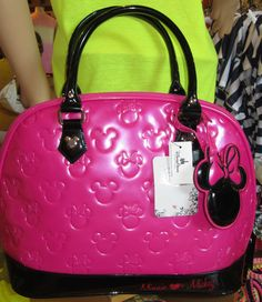 NEW  Disney Loungefly Hot Pink Embossed MINNIE LOVES MICKEY Bowling Purse  Bag aac4b9d1d6328