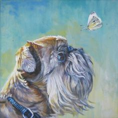 Brussels Griffon dog art CANVAS print of LA Shepard painting 8x8