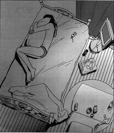 love lost death art girl depressed sad lonely anime white room pain sleep alone black draw bed manga dark phone cry grey