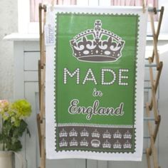 Made in England tea towel green - From Britain with Love