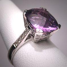 Vintage Amethyst Diamond Wedding Ring White Gold Deco 7