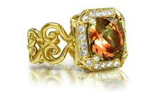 """Madelyn Ring Erica Courtney presents 18K Yellow Gold """"Madelyn"""" ring, featuring a 4.57ct color change CSARITE®, accented with 0.50ctw Diamonds"""