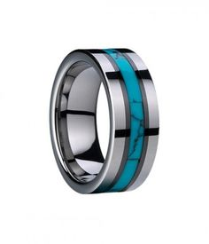 Mens Tungsten Carbide Ring Wedding Band wtih Turquoise and Ceramic Inlay - #Rings, #Tungsten, #Turquoise
