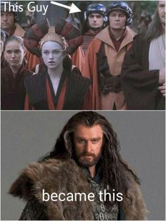 Richard Armitage played one of Queen Amidala's guards in Star Wars : Episode I: The Phantom Menace before he became Thorin Oakenshield in The Hobbit. Richard Armitage, Star Wars Meme, Star Trek, Natalie Portman, Martin Freeman, Anakin Dark Vador, Funny Videos, Funny Memes, Hilarious