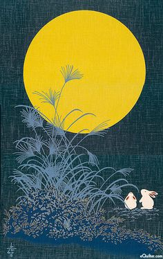 Moonlit Bunnies - Japanese Indigo Noren Panel - Fabric from www.eQuilter.com