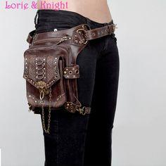 Brown Leather Steampunk Mini Waist Bag Item Type: Waist Packs Gender: Unisex Pattern Type: Solid Main Material: PU Item Length: 27 cm Material Composition: PU Strap Drop: 150 cm Shape: Trunk
