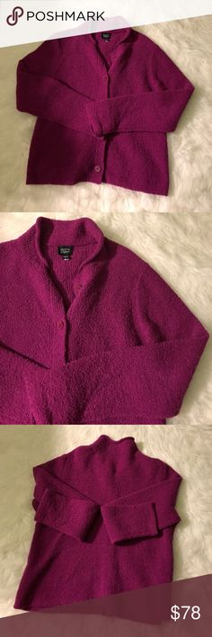 Eileen Fisher magenta button down sweater jacket Perfect condition magenta button up sweater jacket, size small has a looser effortless shape. Eileen Fisher Sweaters