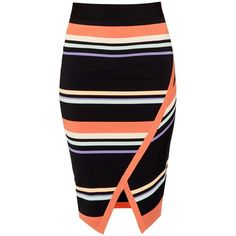Ted Baker Xammie Tribal Stripe Wrap Midi Skirt, Navy (£109) ❤ liked on Polyvore featuring skirts, bottoms, navy blue skirt, striped skirt, striped bodycon skirt, striped midi skirt and black knee length skirt