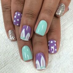 Purple + Turquoise Nail Design for Easter