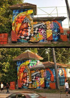 Allan Dalla in Bucharest Installation Street Art, Art Installations, Around The World In 80 Days, Outdoor Sculpture, Illusion Art, Street Art Graffiti, People Art, Land Art, Street Artists