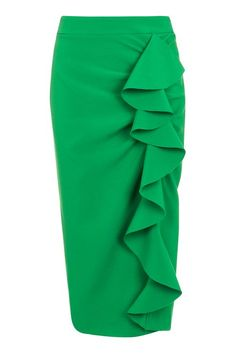 Loving the colour and the ruffles on this skirt - Ruffle Crepe Midi Skirt from Top Shop
