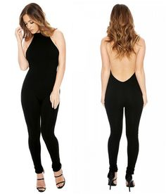 SEXY BLACK HALTER JUMPSUIT Fabric: Fabric is very stretchy Season: Summer Pattern: Solid Color: Black Sleeve Length: Sleeveless Material: Rayon Neckline:: Collar, Halter Styel: Casual