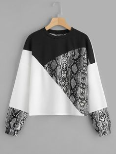 SheIn offers Color Block Snake Skin Pullover & more to fit your fashionable needs. SheIn offers Color Block Snake Skin Pullover & more to fit your fashionable needs. Mode Hijab, Snake Skin, Sleeve Styles, Color Blocking, Colour Block, Plus Size Fashion, Pullover Sweaters, Casual Dresses, Refashioned Clothes