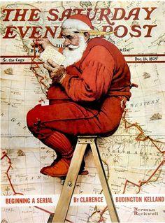 Art-Norman Rockwell-Santa at the Map