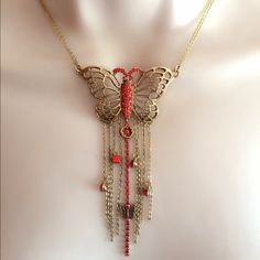 "NWT Pilgrim Butterfly Necklace Gorgeous fringe with orange/ peachy jewels. Approximately 14"" double strand chain with 3"" adjustable extender. Lobster clasp. Stunning. Discount with bundle. Pilgrim Jewelry Necklaces"
