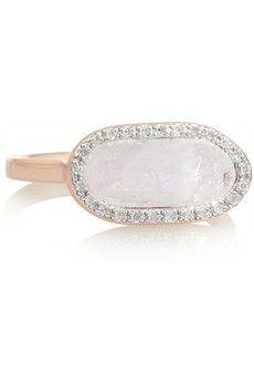 Vega rose gold-plated, moonstone and diamond ring