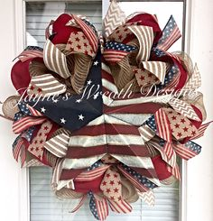 Burlap Patriotic Wreath with Large Metal Star and Stars & Stripes Ribbons  Jayne's Wreath Designs on fb and Instagram