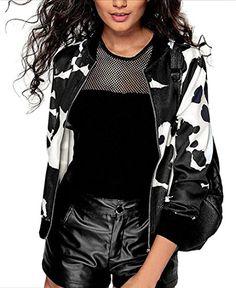 WSPLYSPJY Womens Zebra Print Full Zip Long Sleeve Bomber Jacket 1 XL