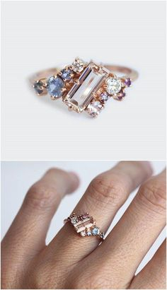 Baguette Engagement Ring / http://www.deerpearlflowers.com/sapphire-engagement-rings/