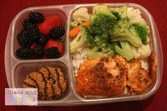 This one was pretty simple. For dinner I made baked salmon with steamed vegetables and rice. For lunch, I packed the rice into an EasyLunchbox and placed a piece of the fish on one side and the veggies on the other. Add in a few strawberries and a handful of blueberries, and then a pair of cookies for dessert, and it's a complete meal!