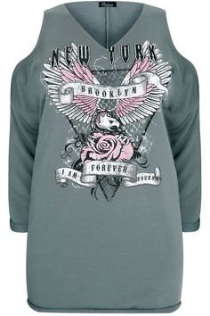 """LIMITED COLLECTION Grey """"New York"""" Slogan Cold Shoulder Sweat Top"""