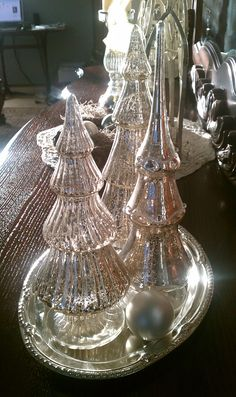 Mercury glass trees on tray with sphere