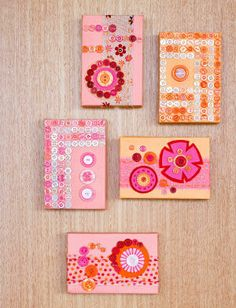 Create eclectic artwork by combining felt, fabric, buttons and paint cleverly worked onto small primed canvases. Let your imagination run wild and be inspired by the canvases on this page.