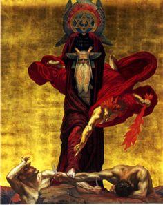 "iopanosiris: ""Jean Delville, (study for) 'La Loi Morale' or 'La Justice de Moïse' "" Dark Fantasy Art, Dark Art, Arte Horror, Horror Art, Jean Delville, Rose Croix, Esoteric Art, Occult Art, Pre Raphaelite"