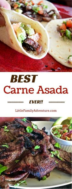 Looking for a quick and easy grilled carne asada recipe? Try the Best Carne Asada Recipe Ever! Restaurant quality carne asada perfect for tacos, burritos, nachos, salads, etc. fabulous for family dinner or for crowds! It's so easy that you'll never bother Mexican Dishes, Mexican Food Recipes, Beef Recipes, Real Food Recipes, Cooking Recipes, Healthy Recipes, Ethnic Recipes, Healthy Tacos, Gourmet