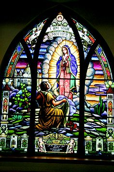 Details from the virgin of Guadalupe window. Stained Glass Church, Stained Glass Art, Stained Glass Windows, Mosaic Glass, Blessed Mother Mary, Blessed Virgin Mary, Catholic Art, Religious Art, Church Windows