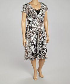 Look what I found on #zulily! Black & Rust Jungle Twist Midi Dress - Plus by AA Studio #zulilyfinds