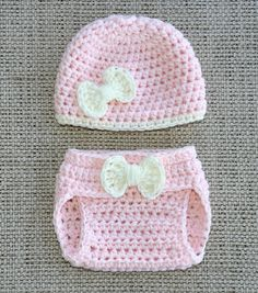 ADORABLE...Crochet Newborn Baby Girl Bow Hat and Diaper Cover Set, Photography Prop, Photo Prop. $22.00, via Etsy.