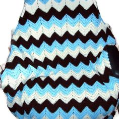 Ripple Baby Blanket Blue Brown and White Crochet por amydscrochet, $45.00