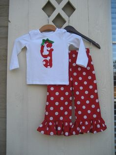 Christmas Red Polka Dot Ruffle Pant Set - sizes 6m to 5T.....TOO CUTE for Santa pictures or Christmas Parties. $40.00, via Etsy.
