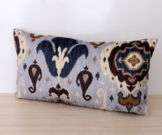 Light Blue and Brown IKAT Decorative Lumber Scatter by 69DSIGNS