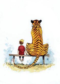 Calvin y Hobbes algo más mayores. Me encanta Bill Watterson.