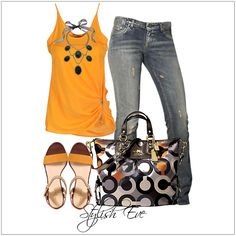 CHATA'S DAILY TIP: Take your jeans from super casual to super trendy by adding one of this season's hottest colours, with sandals to match – in orange! The interesting zip-detail, on the side of the top, creates a slimming effect. A gorgeous bag will guarantee a WOW effect.  COPY CREDIT: Chata Romano Image Consultant, Riana Meyer http://chataromano.com/consultant/riana-meyer/ IMAGE CREDIT: Stylish Eve.