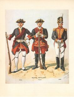 British; Royal Artillery, Officers, 1743,1760 & 1815 by R.Simkin
